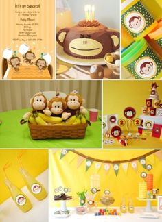 Kids Birthday Party Ideas love this idea. I think I am going to do this for baby birthday Monkey Birthday Parties, Baby 1st Birthday, Birthday Party Themes, Birthday Ideas, Happy Birthday, Curious George Party, Shower Bebe, Baby Shower, Baby Party