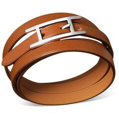 Hermès Hapi 3 Mm Bracelet ($315) ❤ liked on Polyvore featuring jewelry, bracelets, hermes jewelry, hermes bangle, leather bangle, hermès and leather jewelry