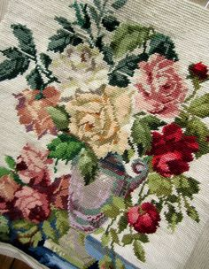 Vintage Needlepoint Tapestry Floral Bouquet by practicalelegance