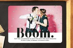 """BOOM Pop the Champagne"" - Customizable Save The Date Postcards in Black by Erika Firm. : ""BOOM Pop the Champagne"" - Whimsical & Funny, Bold typographic Save The Date Postcards in Midnight by Erika Firm. Cheap Save The Dates, Funny Save The Dates, Save The Date Pictures, Save The Date Wording, Wedding Save The Dates, Save The Date Magnets, Save The Date Postcards, Save The Date Cards, Funny Wedding Invitations"