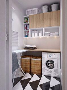 lavanderia: detalhe: as luzes por baixo do armário suspenso