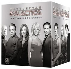 Availability: http://130.157.138.11/record=b3784491~S13 Battlestar Galactica: The Complete 2004 Series 25 DVDs When an old enemy, the Cylons, resurface and obliterate the 12 colonies, the crew of the aged Galactica protects a small civilian fleet - the last of humanity - as they journey toward the fabled 13th colony of Earth.