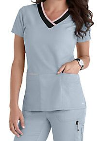 Grey's Anatomy Color Block V-neck Scrub Tops Doctor Scrubs, Scrubs Outfit, Medical Uniforms, Healthcare Uniforms, Greys Anatomy Scrubs, Womens Scrubs, Medical Scrubs, Nursing Clothes, Scrub Tops