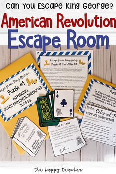 Teach the American Revolution and Colonial Rebellion through a complex and challenging Escape From King George! For Civics and American Government class! American History Lessons, World History Lessons, History Education, History Projects, History Teachers, Teaching History, American Revolution For Kids, Teaching American History, Escape Room