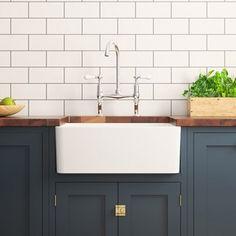 Fireclay Farmhouse Large Belfast White Ceramic Kitchen Sink - 600 x 475mm