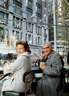 Betty White and Lorne Greene hosting the 1965 Macy's Thanksgiving Day Parade in New York City.