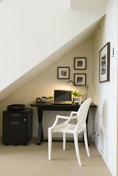 Office underneath the stairs. What a great use of space!