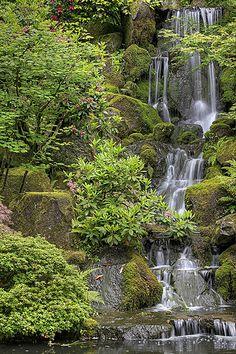 The Waterfall at Portland, Oregon Japanese Garden