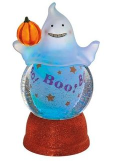 Halloween ghost snow globe with rotating boo text table d 233 cor midwest