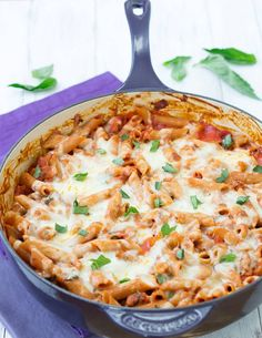 Skillet Baked Penne- the comfort of baked pasta without all of the fuss | Kristine's Kitchen