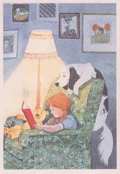 Taina, Hannu - childrens book illustrator Girl Reading, Inside, w Dog Reading Art, Girl Reading, I Love Reading, Reading Books, I Love Books, Good Books, Books To Read, My Books, World Of Books