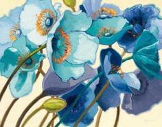 Big wall art painting illustrating a number of poppy flowers. Le Pavots Bleu Wall Art by Shirley Novak from Great BIG Canvas. Big Canvas Art, Big Wall Art, Canvas Art Prints, Wall Canvas, Painting Prints, Fine Art Prints, Blue Canvas, Canvas Size, Canvas Paintings