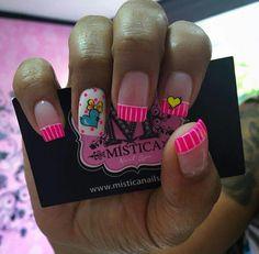 Ruby Nails, Neon Nails, Pink Nails, Cute Nail Art, Beautiful Nail Art, Birthday Nail Art, Acrylic Nails At Home, Flower Nails, Simple Nails