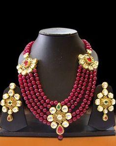 Multi Strand Pearl Necklace Set maroonDesignno8B3162siv