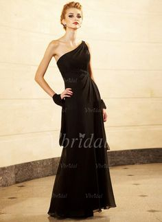Mother of the Bride Dresses - $166.59 - A-Line/Princess One-Shoulder Floor-Length Chiffon Mother of the Bride Dress With Ruffle Beading (00805007764)