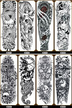 Large Arm Body Waterproof Fake Sticker Removable Temporary Tattoo Tattoos And Body Art body art temporary tattoos Full Sleeve Tattoo Design, Sketch Tattoo Design, Skull Tattoo Design, Full Sleeve Tattoos, Tattoo Designs Men, Tattoo Diy, Fake Tattoo, Tattoo Henna, Temporary Tattoo Sleeves
