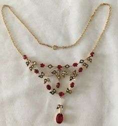 ANTIQUE-EDWARDIAN-PENDANT-NECKLACE-9ct-ROSE-GOLD-SEED-PEARLS-DOUBLETTE-GARNETS Gold Necklace, Necklaces, Pearls, Detail, Rose, Stuff To Buy, Jewelry, Jewellery Making, Pink