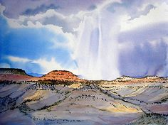 """Storm Across the Valley by Linda Sherman Watercolor ~ 30"""" x 22"""""""