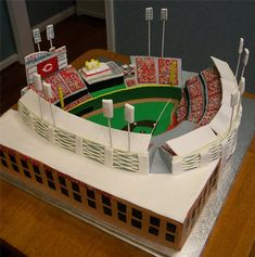 Cincinnati Reds Ballpark Wedding Cake - Great American Ball Park.  Amazing recreation!
