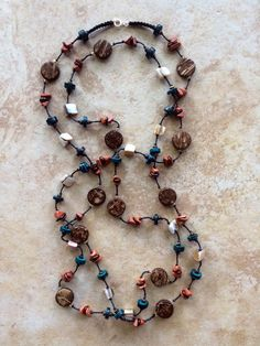 Long Stone Necklace Earthy Necklace Blue Stone by FrancaandNen