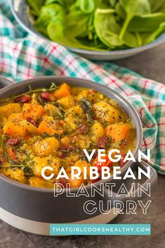 This Caribbean vegan plantain curry is filling, delicious and made in one pot. It's packed with sweet potatoes, spinach, kidney beans and fragrant spices. An overall award winning dinner that is great for bulk cooking or weeknights for the family. Vegan Dinner Recipes, Veggie Recipes, Whole Food Recipes, Vegetarian Recipes, Healthy Recipes, Jamaican Dishes, Jamaican Recipes, Curry Recipes, Vegan Stew