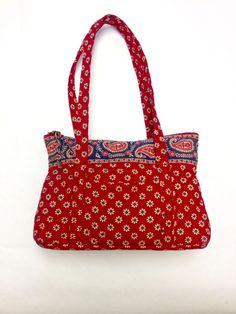 Vera Bradley Purse Red Little Betsy Villa Retired Small Handbag #VeraBradley #ShoulderBag