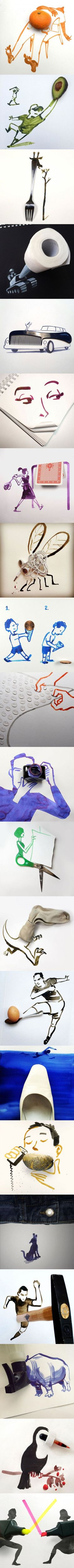 21 Creative Drawings Completed Using Everyday Objects By Christoph Niemann: