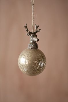 Kalalou Glass Ball With Deer Christmas Ornament - Antiqued and timeless, these glass ornaments are topped with beautifully detailed cast-metal deer finials. The set of six is sure to offer plenty of rustic Holiday charm to your home.