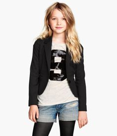 H&M Kids Jersey Blazer, Tee, Jean Shorts, and tights. Cute!