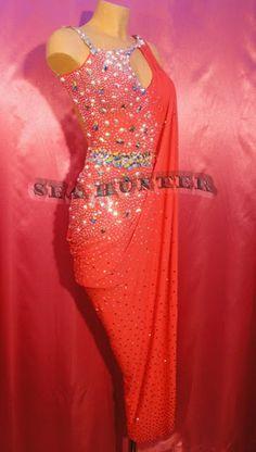 Ballroom Hot Red  Sexy Latin Cha Cha Ramba Samba US10 Dance Dress#L2054