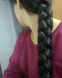 Down Hairstyles, Straight Hairstyles, Braided Hairstyles, Indian Long Hair Braid, Braid Hair, Beautiful Long Hair, Beautiful Eyes, Long Silky Hair, Thick Braid
