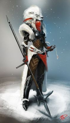 very nice. Female warrior with halberd in white lion fur