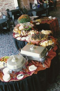 Good Idea For Chafing Dish Plus It Makes Them Look Pretty And Non - Catering buffet table setup