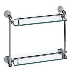 Contemporary Style Chrome Finish Brass Double Layers Glass Shelf – AUD $ 118.05
