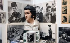 An Elvis shrine at the Holburne museum Bath from Peter Blake's Peter Blake cabinet of kitsch In 'A Museum for Myself' Blake shows puppets, shell boxes and teapots and a collection of toy animals, matchboxes and nuts and bolts.