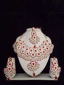 Indian Bollywood Kundan Diamantes Bridal Necklace Set