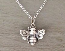 Sterling Silver Bee Necklace Honey Bee Necklace Gold Bee Necklace