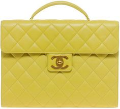ShopStyle: Vintage Heirloom Chanel Yellow Briefcase