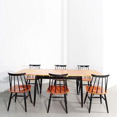 Fanett dining set by Ilmari Tapiovaara for Asko, Dining Room Chairs, Dining Room Furniture, Dining Set, Kitchen Dining, Dining Table, Dinner Sets, 1950s, Lesbians, Furnitures
