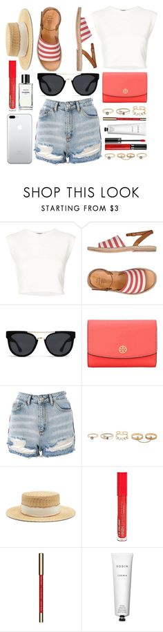 """""""Summer Walk"""" by smartbuyglasses-uk ❤ liked on Polyvore featuring Puma, n.d.c., Quay, Tory Burch, Topshop, LULUS, Filù Hats, L.A. Colors, Clarins and Rodin"""