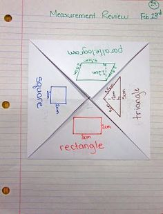 foldable for a review on finding area of rectangle, triangle, parallelogram, and square