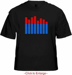 Sound Equalizer Rave T-Shirt With Sound Sensor (Red / Blue). This rave t-shirt has a built-in graphic equalizer with a wide spectrum sensor controller to detect the true rhythm frequency and beat of music. Price $24.99