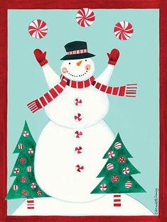 Snowman art, peppermint- Bernadette Deming