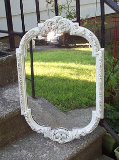 Antique white wall mirror Vintage shabby by UpcycledCottageDecor