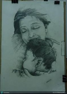 holding my daughter #Creative #Art #Sketching @touchtalent.com.com