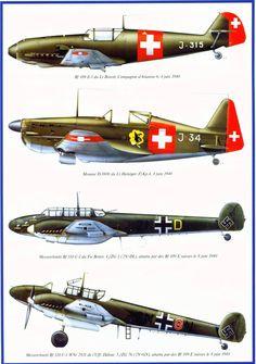 Luftwaffe, Ww2 Aircraft, Military Aircraft, Swiss Air, Ww2 Planes, Nose Art, Aeroplanes, Military Art, Colour Schemes