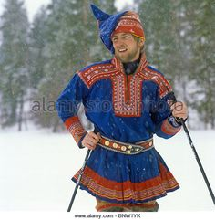 Portrait of young sami in traditional lapp costume - region of Lapland - Finland - Stock Image