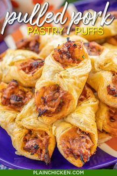 Pulled Pork Pastry Puffs - only 4 ingredients! Great recipe for a quick lunch, dinner or party. Smoky pulled pork tossed with BBQ sauce and cheese then baked in puff pastry. SO good! Can make ahead and freeze for later. We love to serve these with some coleslaw and extra BBQ sauce or Ranch for dipping. YUM! #pulledpork #partyfood #appetizer #tailgating Best Party Appetizers, Yummy Appetizers, Appetizer Recipes, Appetizer Ideas, Great Recipes, Favorite Recipes, Simple Recipes, Unique Recipes, Puff Pastry Recipes