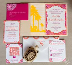 Bold Invitation for a Festive Mexico Destination Wedding.  Loving the letterpress and colouring! x