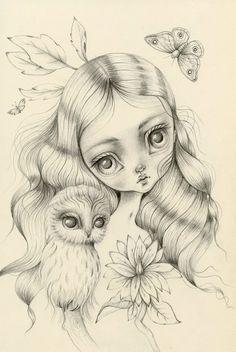 Lauren Saxton Art & Illustration by LaurenSaxtonArt Drawing Sketches, Art Drawings, Coloring Book Pages, Cute Art, Zentangle, Fine Art Prints, Illustration Art, Artwork, Girls